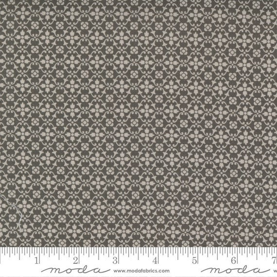 Pumpkins and Blossoms- 1/2 Yard Increments, Cut Continuously  (20426 17 Florence - Charcoal) by Fig Tree & Co. for Moda