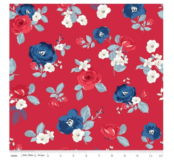 Land of Liberty- 1/2 Yard Increments, Cut Continuously (C10560 Red Main) by My Minds Eye for Riley Blake Designs