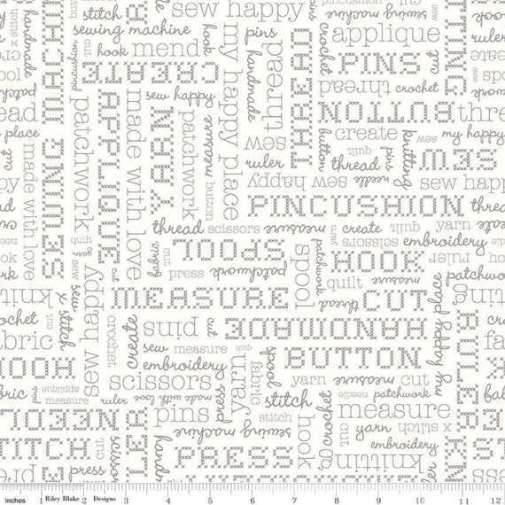 Stitch- 1/2 Yard Increments, Cut Continuously  (C10921 Cloud Text) by Lori Holt for Riley Blake Designs