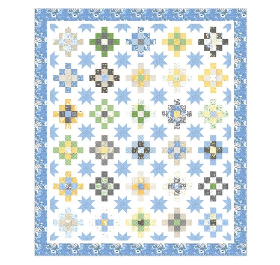 """Spring Brook Patchy Stars Boxed Quilt Kit -KIT29110- Finished Size 70"""" x 82""""- by Corey Yoder for Moda"""