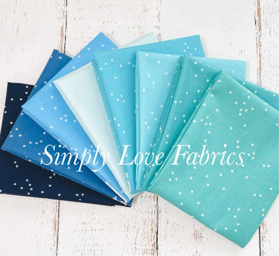 Blossom- Fat Quarter Bundle (8 Aqua/Navy Fabrics) by Christopher Thompson for Riley Blake Designs- C715
