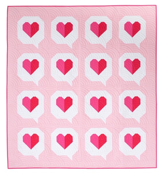 """I Heart You Quilt Pattern by Pen +Paper Patterns and Then Came June Finished Quilt Size 55"""" x 61"""""""