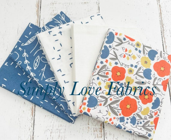 Words To Live By- Fat Quarter Bundle- 5 white/ Sky Fabrics  -by Gingiber for Moda