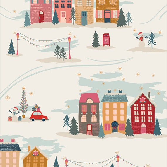 Cozy and Magical- 1/2 Yard Increments, Cut Continuously CMA 25135 Christmastide Town by Maureen Cracknell for Art Gallery Fabrics