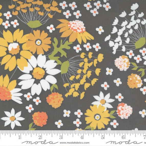 Cozy Up- 1/2 Yard Increments, Cut Continuously (29120-16 Sunshine Harvest Floral Grey Skies) by Corey Yoder for Moda Fabrics