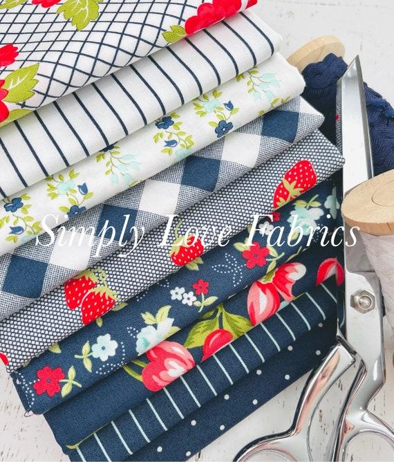 Sunday Stroll- 1/2 Yard Bundle (9 Fabrics Navy) by Bonnie and Camille for Moda