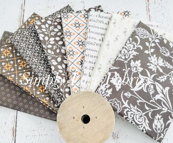 Pumpkins and Blossoms- Fat Quarter Bundle (8 Charcoal Fabrics) by Fig Tree for Moda
