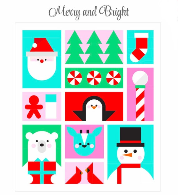 """Santa's Helpers Quilt Kit (NO PATTERN)- Merry And Bright- Block of the Month by Corinne Sovey- Finished Quilt Size 60"""" x 69.5"""""""