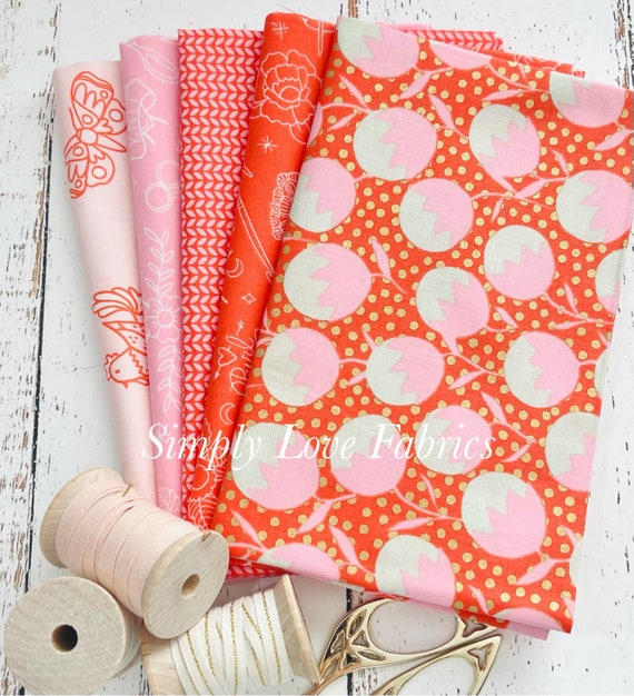 Purl -Fat Quarter Bundle (5 Fabrics Florida Red) by Sarah Watts for Ruby Star Society