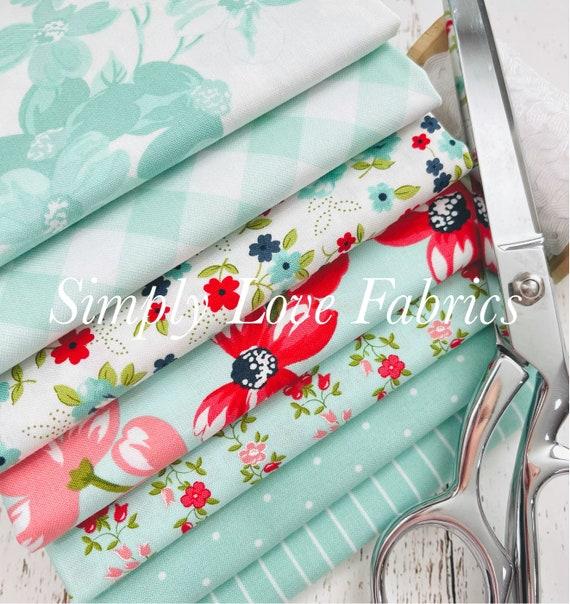 Sunday Stroll- 1/2 Yard Bundle (7 Fabrics Aqua) by Bonnie and Camille for Moda