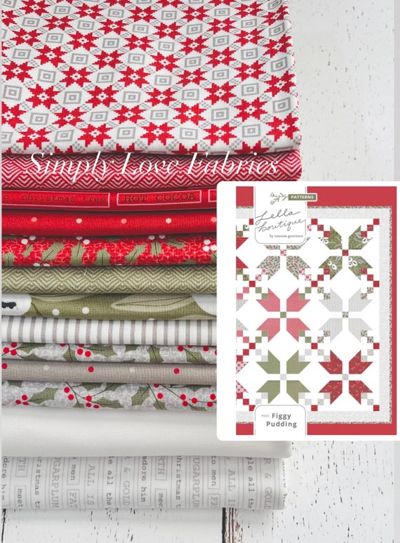 """Figgy Pudding Quilt Kit with Pattern by Vanessa Goertzen of Lella Boutique for Moda- Finished Quilt Size 70.5"""" x 70.5"""""""