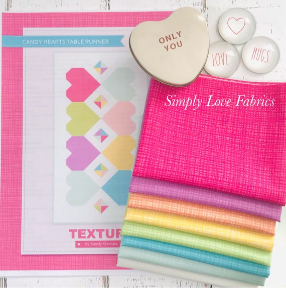 """Candy Hearts Table Runner- Finished Size 24"""" x 44"""" - using Texture Fabric by Sandy Gervais for Riley Blake Designs"""