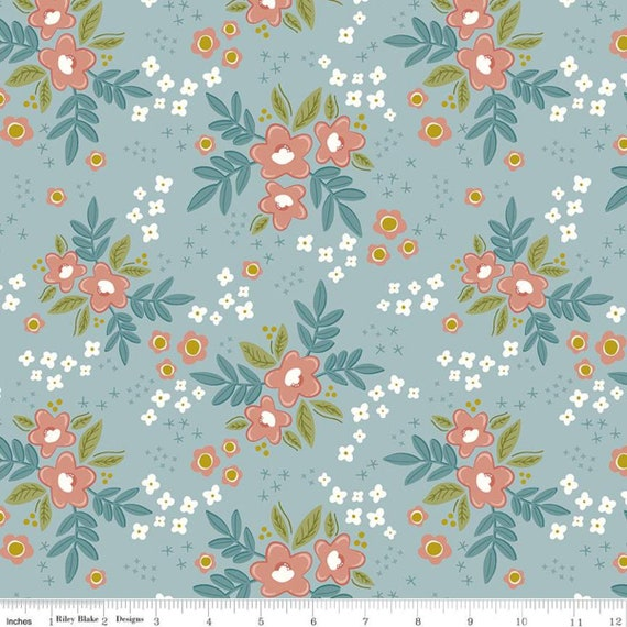 Primrose Hill - 1/2 Yard Increments, Cut Continuously Aqua Main - C11060  by Melanie Collette for Riley Blake Designs