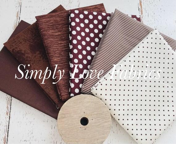 Fall Basics Fat Quarter Bundle- 6 Brown Fabrics- Riley Blake Designs