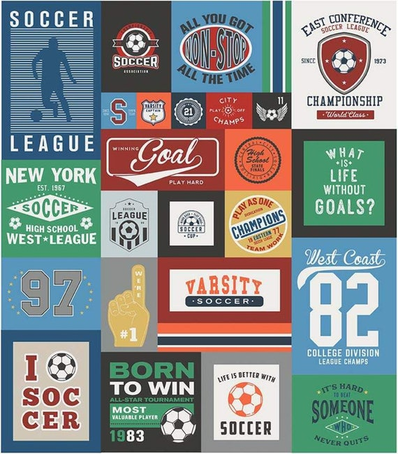 """Varsity Soccer Panel by Deena Rutter For Riley Blake Designs- P7953 Blue- Panel Size 56"""" x 64"""""""
