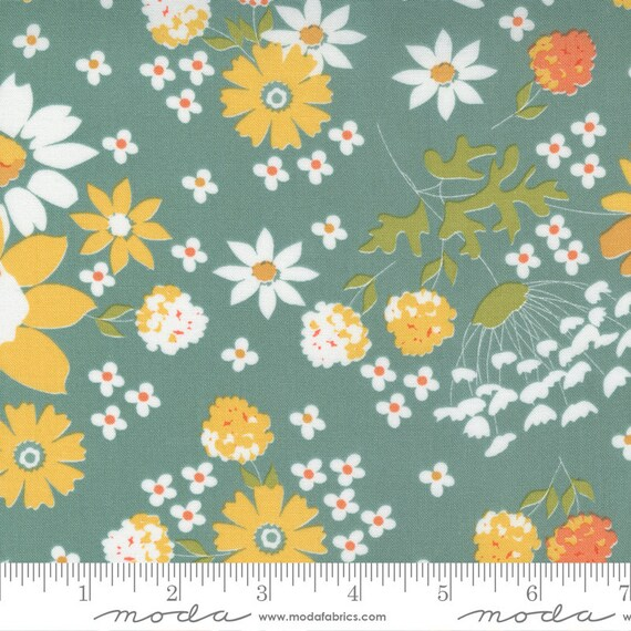 Cozy Up- 1/2 Yard Increments, Cut Continuously (29120-17 Sunshine Harvest Floral Blue Skies) by Corey Yoder for Moda Fabrics