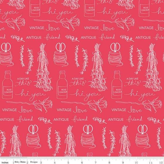 Idyllic- 1/2 Yard Increments, Cut Continuously (C9881 Raspberry Text) by Minki Kim for Riley Blake Designs
