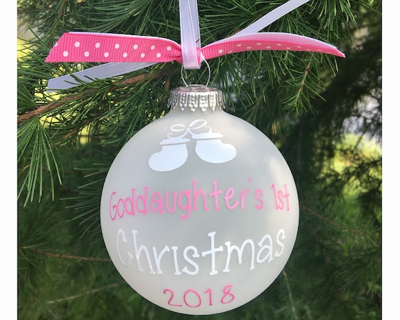 Personalized Goddaughter's 1st Christmas ornament | Etsy