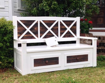 Porch Bench / Outdoor Bench / Storage Bench / White Bench / Ana White Bench
