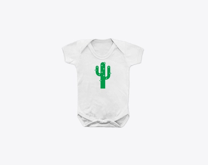 Green Sparkly Cactus Organic Cotton Short Sleeve BabyGrow
