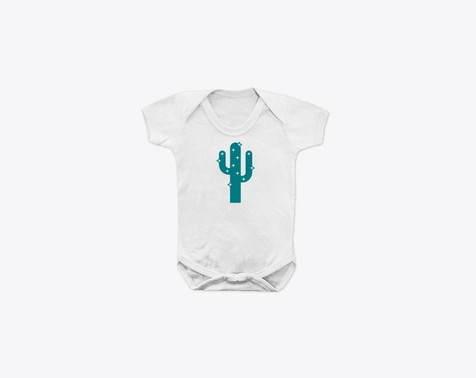 Teal Sparkly Cactus Organic Cotton Short Sleeve BabyGrow