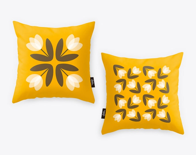 Tulips from Amsterdam Luxury Linen Cushion Cover in Sunshine Yellow