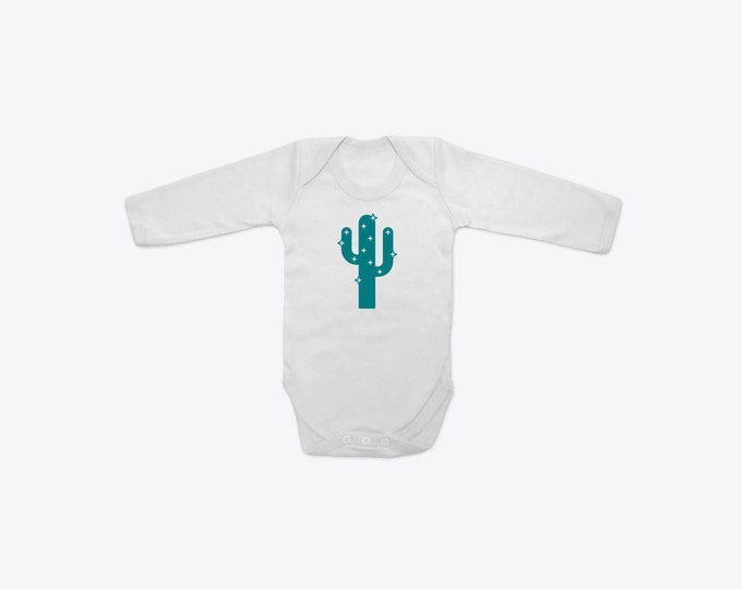 Teal Sparkly Cactus Organic Cotton Long Sleeve BabyGrow