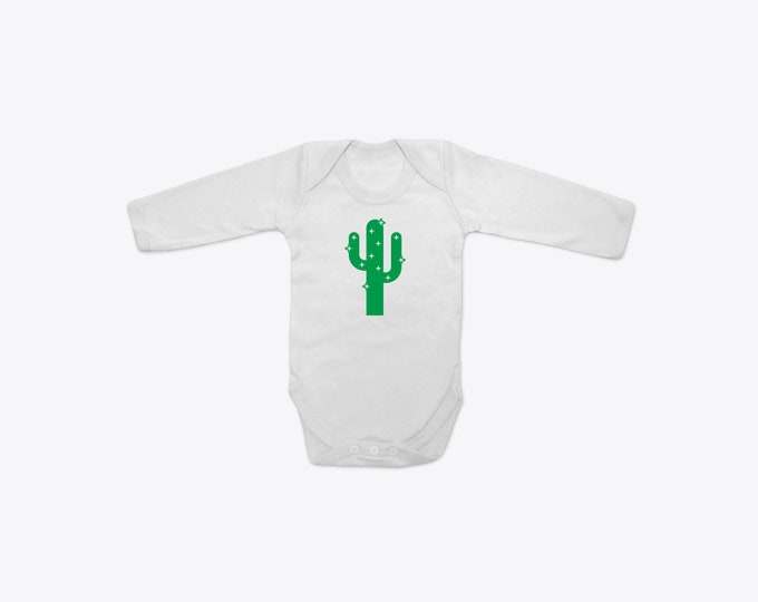 Green Sparkly Cactus Organic Cotton Long Sleeve BabyGrow