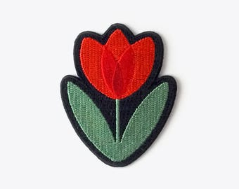 Tulip Embroidered Iron-On Patch – 70s retro Dutch Scandinavian flower patch by Suzie London