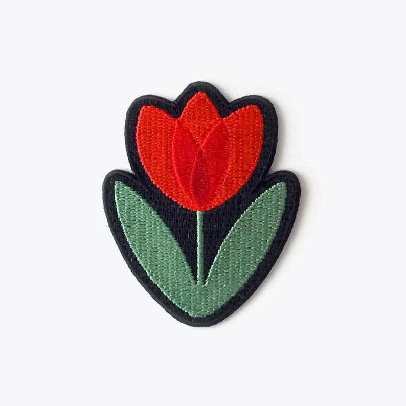 Tulip Embroidered Iron-On Patch  70s retro Dutch Scandinavian image 0