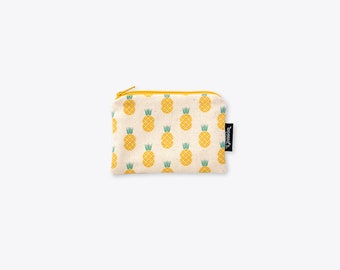 New! Disco Pineapple Organic Unbleached Cotton Coin Purse / Zip Bag / Zip Pouch / Make Up Bag / Card Holder by Suzie London