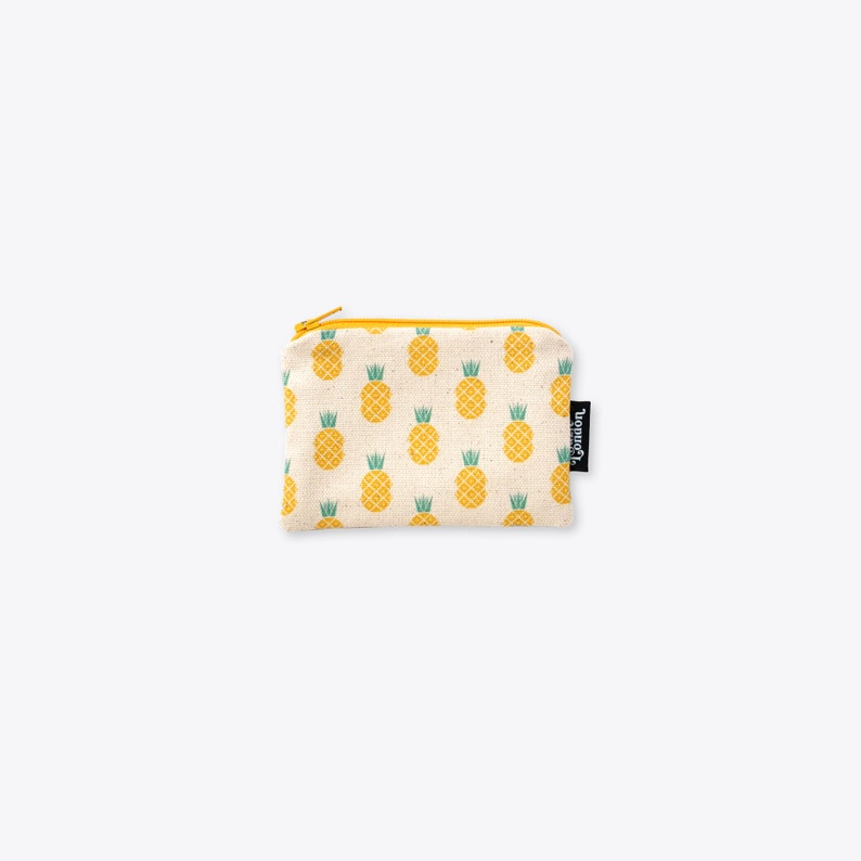 Disco Pineapple Organic Unbleached Cotton Coin Purse / Zip Bag image 0