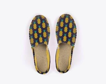Disco Pineapple Unisex Espadrilles in Midnight Blue