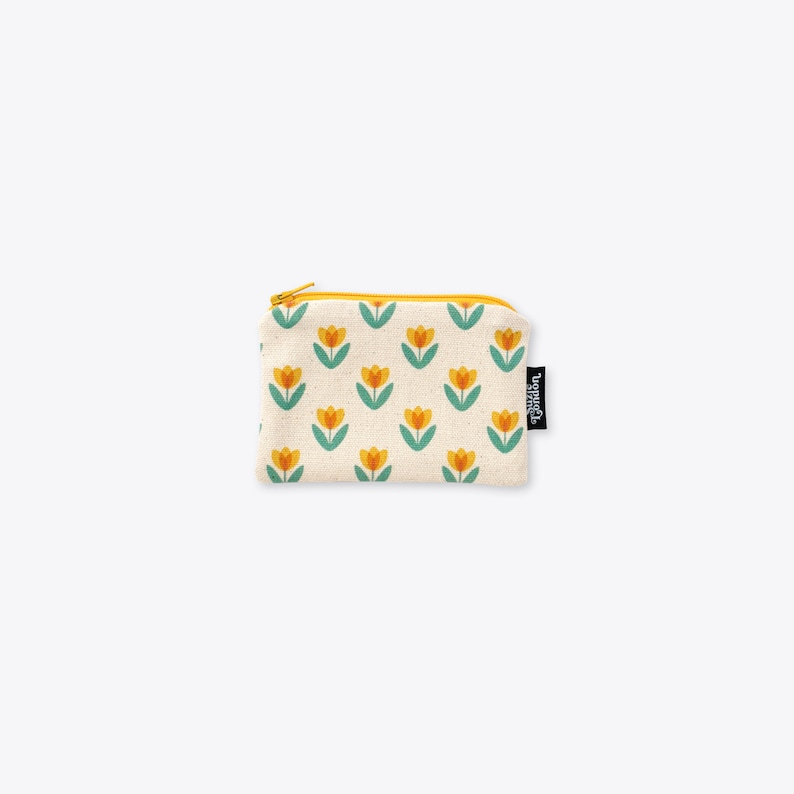 Yellow Tulip Organic Unbleached Cotton Coin Purse / Zip Bag / image 0