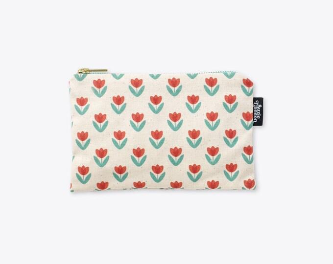 New! Red Tulip Organic Cotton Zip Bag