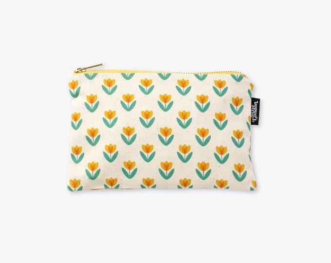 New! Yellow Tulip Organic Cotton Zip Bag
