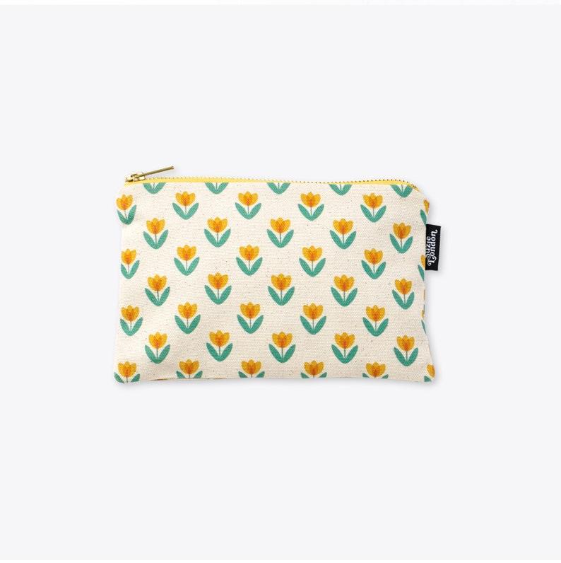 Yellow Tulip Organic Unbleached Cotton Zip Bag / Zip Pouch / image 0