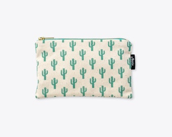 New! Sparkly Cactus Organic Unbleached Cotton Zip Bag / Zip Pouch / Make Up Bag / Clutch by Suzie London