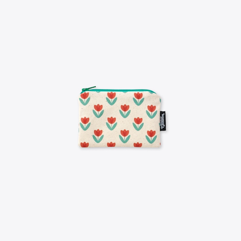 Red Tulip Organic Unbleached Cotton Coin Purse / Zip Bag / Zip image 0