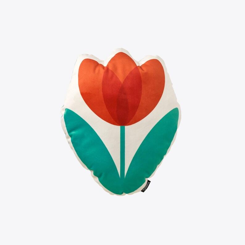 Retro Tulip Velvet Cushion in Vibrant Red  Retro 60s 70s image 0