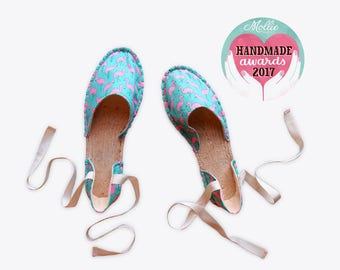 Flamingo Strappy Espadrilles in Turquoise