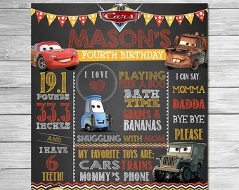 Disney Cars Birthday Photo Prop Sign Red Yellow Chalkboard // Cars Birthday Party // Printable Cars Party Favors // First Birthday / Any Age