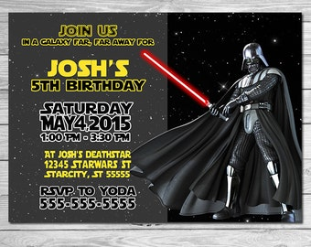 Star Wars Invitation Darth Vadar