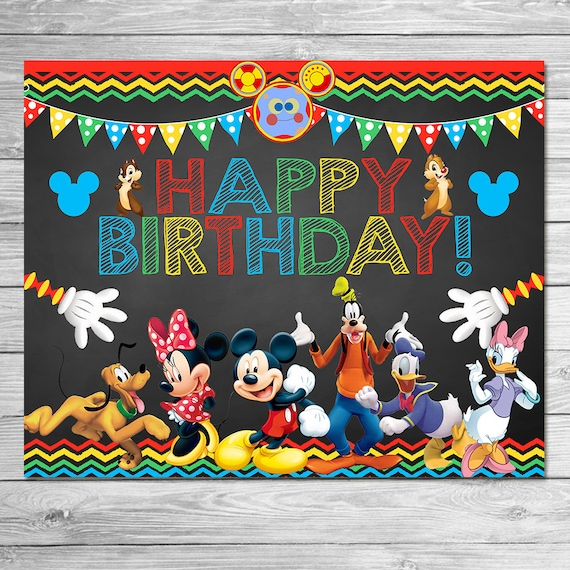 Mickey Mouse Clubhouse Happy Birthday Sign Chalkboard Mickey Etsy