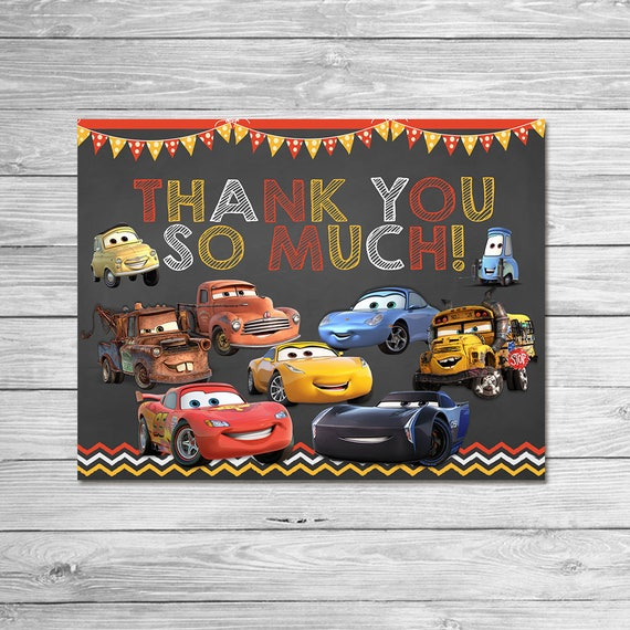 Disney Cars 3 Thank You Card Instant Download Chalkboard