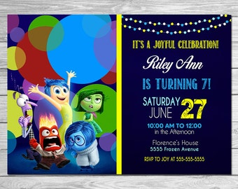 Inside Out Invitation Chalkboard Blue // Inside Out Birthday Party // Inside Out Invite // Printable Inside Out Party Favors