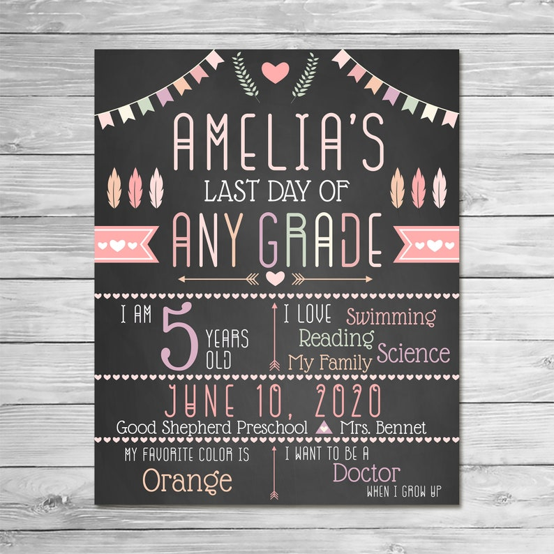 Last Day of School Sign Chalkboard - Feathers Arrows - Printable Last Day School Sign - Custom Graduation Sign - Class of 2020 Sign - 100878