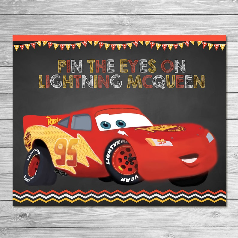 picture relating to Lightning Mcqueen Eyes Printable identified as Disney Vehicles Pin the Tail Video game Lightning McQueen - Chalkboard - Automobiles Social gathering Activity - Autos Birthday Get together Pin Video game - Printable Social gathering Sport Automobiles