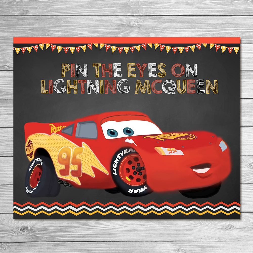 Disney Cars Pin The Tail Game Lightning McQueen Chalkboard