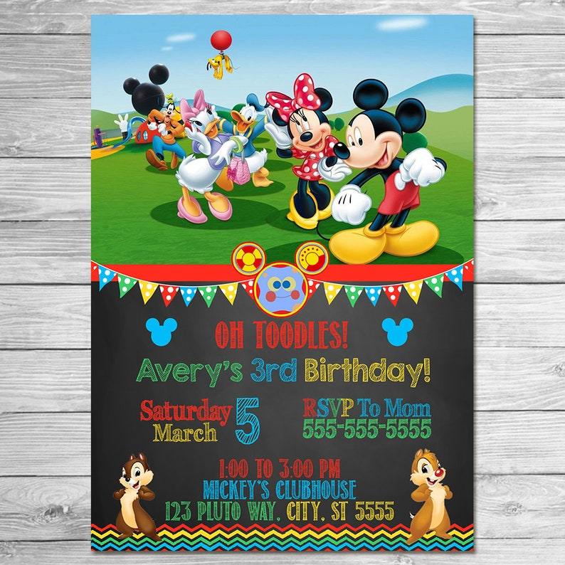 Mickey Mouse Clubhouse Invitation Chalkboard Mickey Mouse Etsy